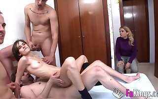 A surprise for Ainara. Her very first orgy!