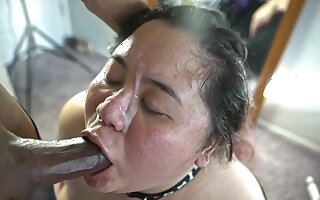 Nasty ass slow motion facial and big dick down her throat