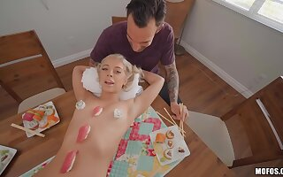 Allie Nicole serves sushi on her body and gets the bone after dinner