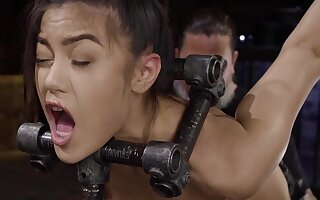 Anal seduction in rough scenes of BDSM for the petite brunette