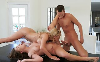 Lesbians share cock for anal in mom and daughter tryout