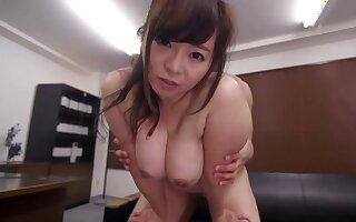 Asian milf with huge tits, superb fuck at the office
