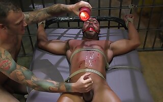 Brutal gay BDSM with rope, torture and humiliation for a slave
