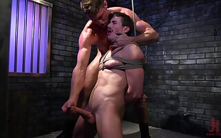 Tied up amateur dude gets his ass destroyed by a massive toy