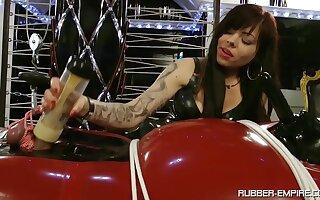 Tattooed whore teases her male slave in a full femdom