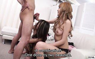 Uncensored JAV topless gyaru handjob and blowjob Subtitles