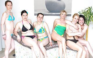 Lovely mature women relaxing in a sauna