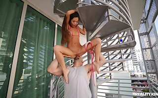 Asian excessive price rides the monster pole kick the bucket a absolute foreplay
