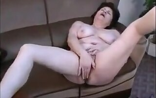 Soft granny enjoy creamy squirting with her fist remote toy more her home place!
