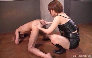 Closeup movie of downcast Mari Rika pleasuring her lover's gumshoe and ass