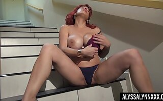 Gorgeous red follower Alyssa Lynn is jilling off snatch on the stairs