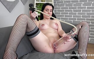 Angelina loves to stuff her overambitious cunt with different toys