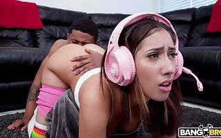 Gamer stepsister makes her stepbro eat her butt and then she fucks him