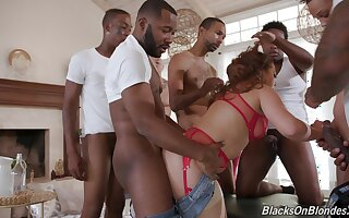 Tight MILF gets blacked in full gangbang at home