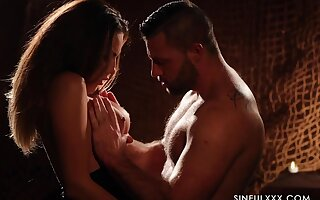 Candle light X-rated video featuring smoking hot seductress Vanessa Decker