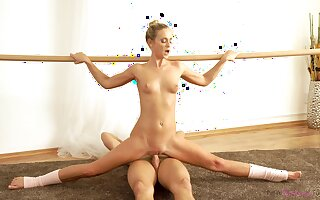 Aroused ballerina moans with inches in both holes
